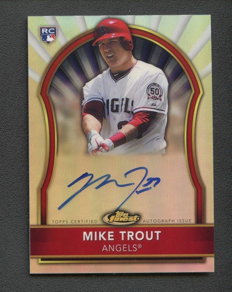 2011 topps finest refractor mike trout rc rookie auto 84