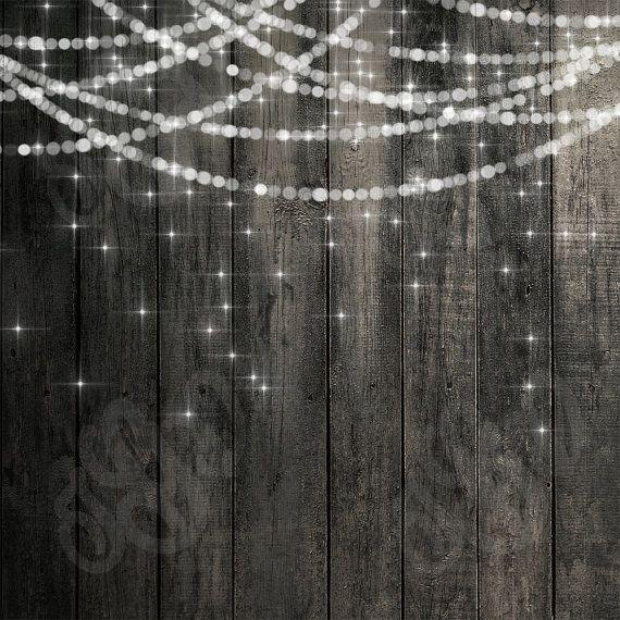 Bokeh String Lights Rustic Wood Chalkboard Digital Photography Backdrop