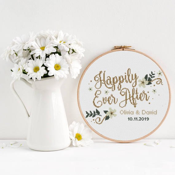 Photo of Happily ever after Wedding cross stitch pattern floral wreath flowers anniversary love couple – Cross Stitch Pattern (Digital Format – PDF)