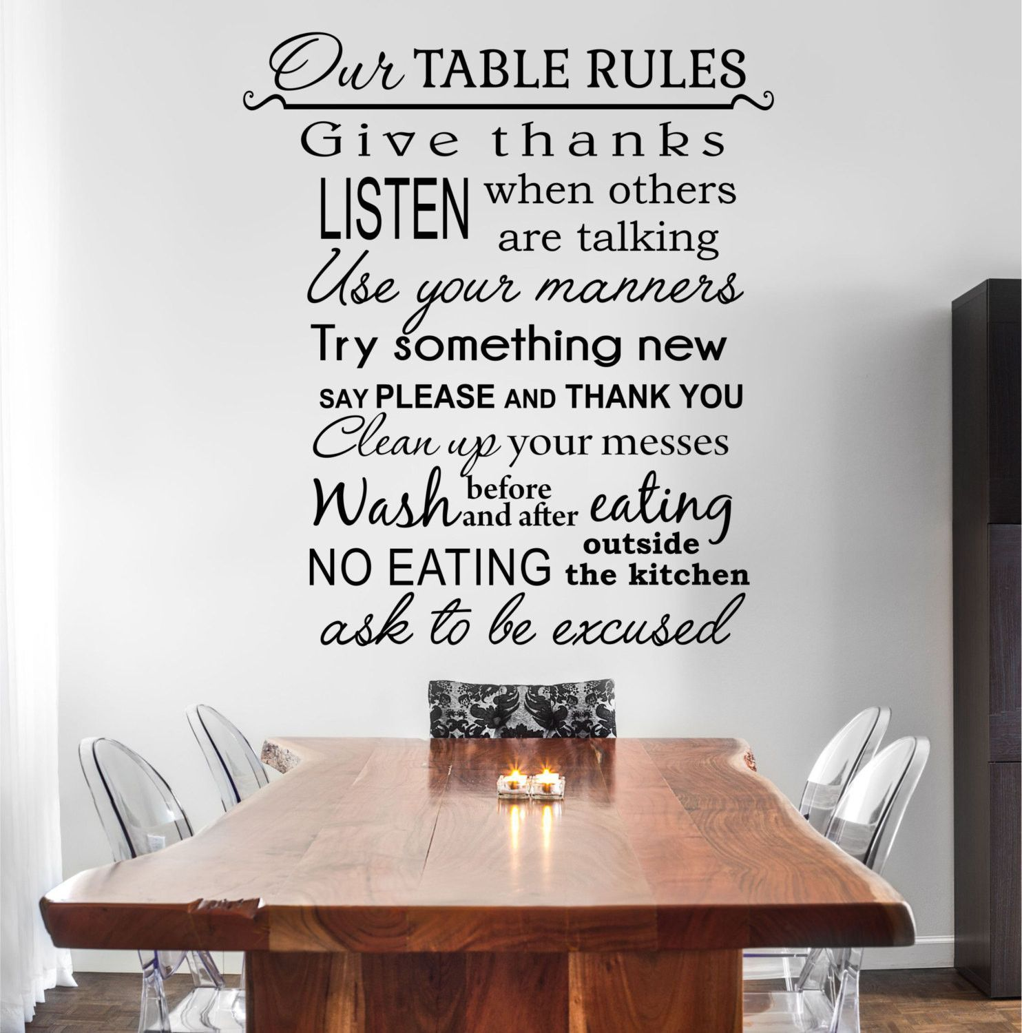 Our Table Rules Kitchen Quote Vinyl Wall Decal Sticker 24 Wide X