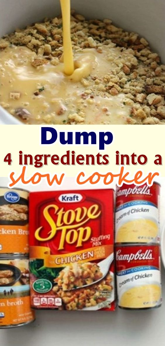 Dump 4 ingredients into a slow cooker. End result is a hearty, tasty chicken and stuffing #crockpotmeals