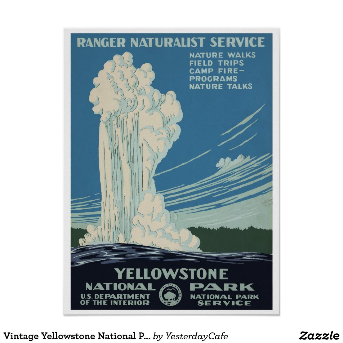 Vintage Yellowstone National Park Old Faithful Poster