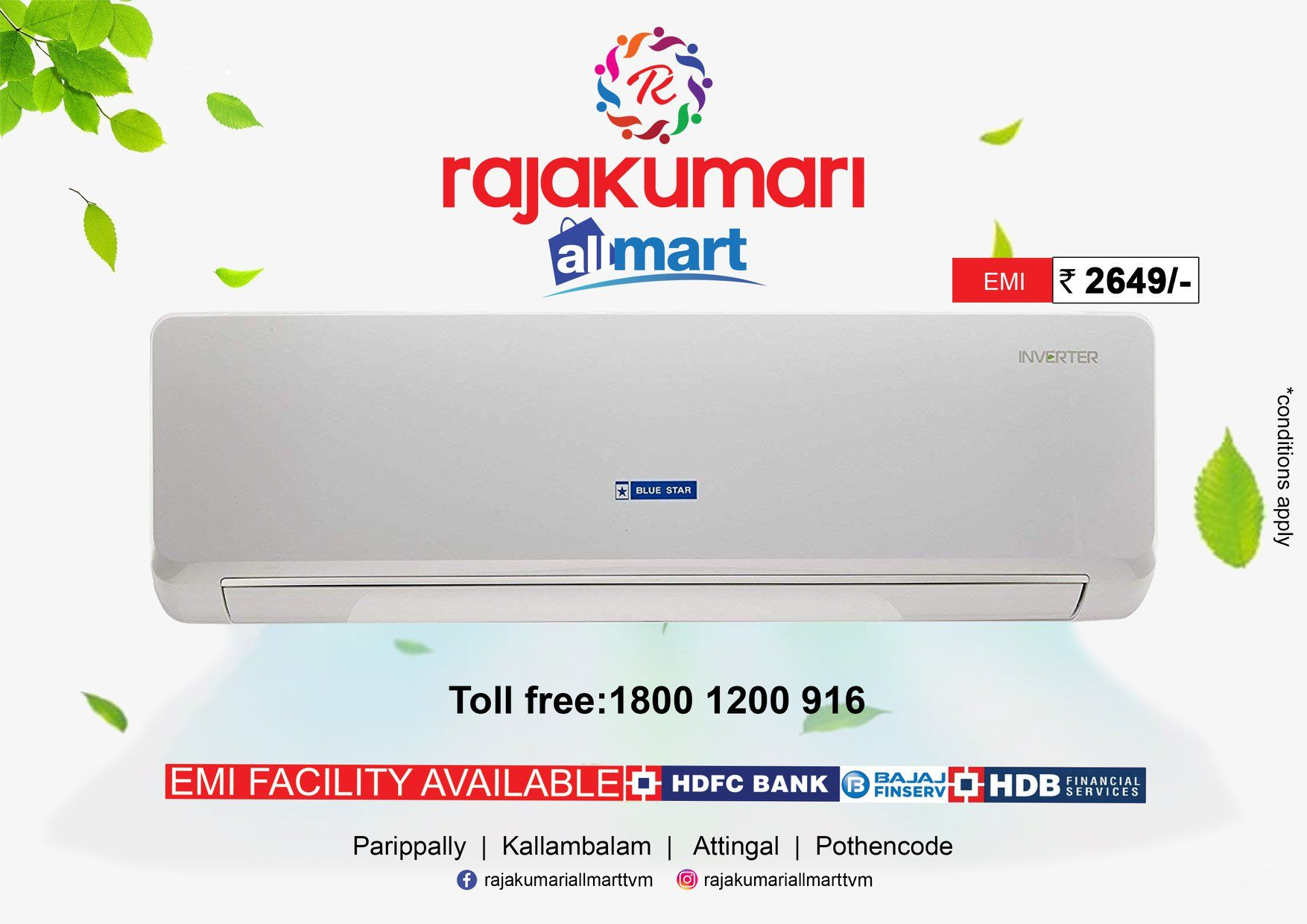 Purchase Blue Star 1 Ton Air Conditioner from Rajakumari