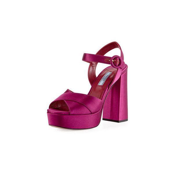 2090a881fab Prada Satin Crisscross 115mm Platform Sandal ( 750) ❤ liked on Polyvore  featuring shoes