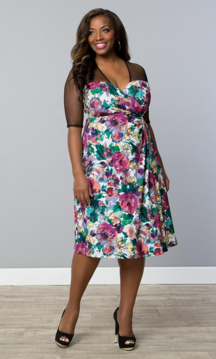 Sugar and Spice Dress - Floral Painting Print Trendy Curvy | Plus Size Fashion | Fashionista | Shop online at www.curvaliciousclothes.com TAKE 15% OFF Use code: SVE15 at checkout