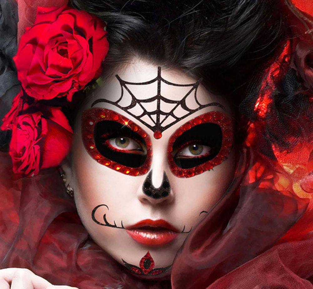 Xotic Eyes Stick On Reusable Sugar Skull Mask Halloween