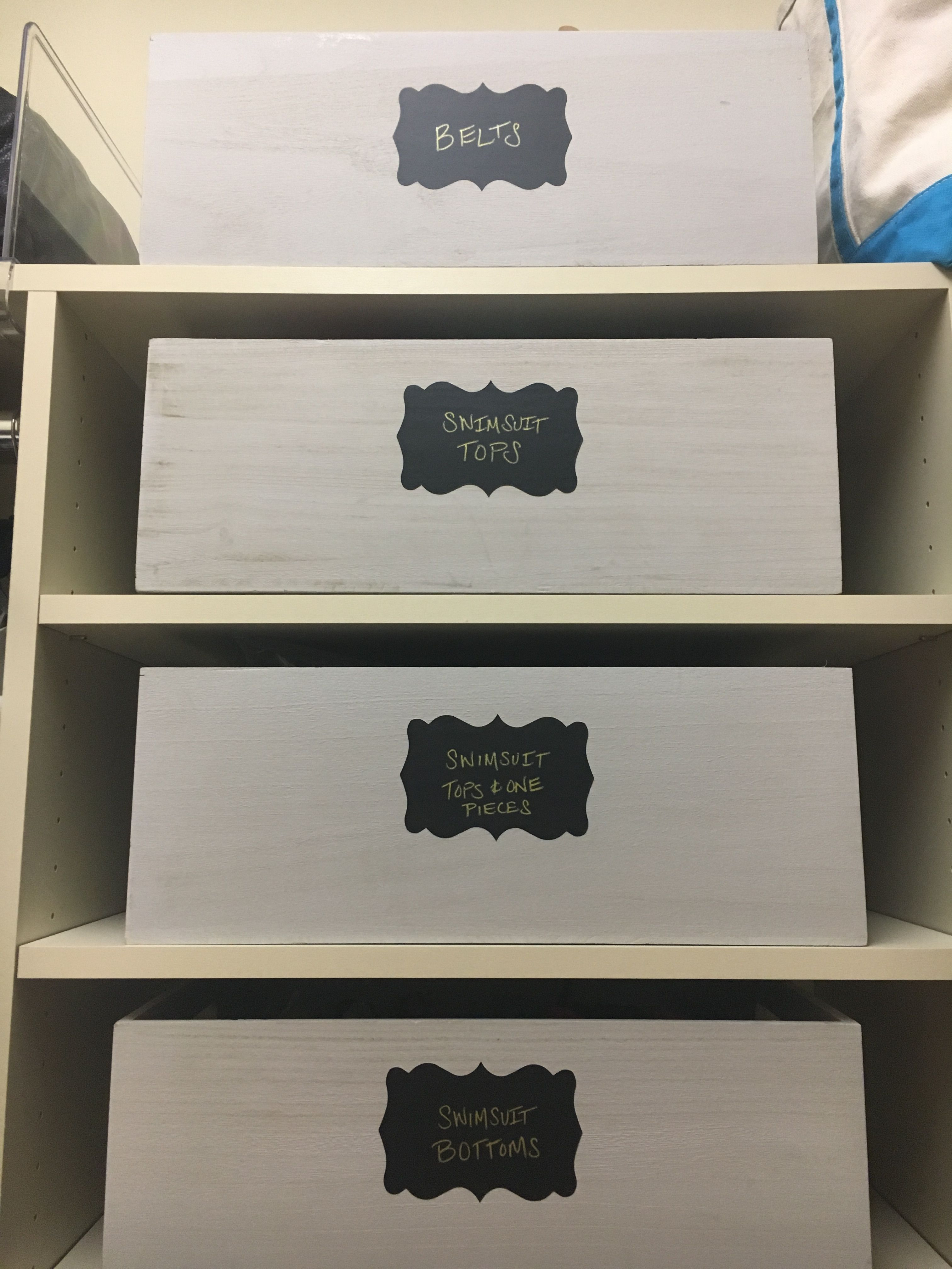 Organized Closet Chalkboard Labels Whitewashed Wooden Storage Bins The Container