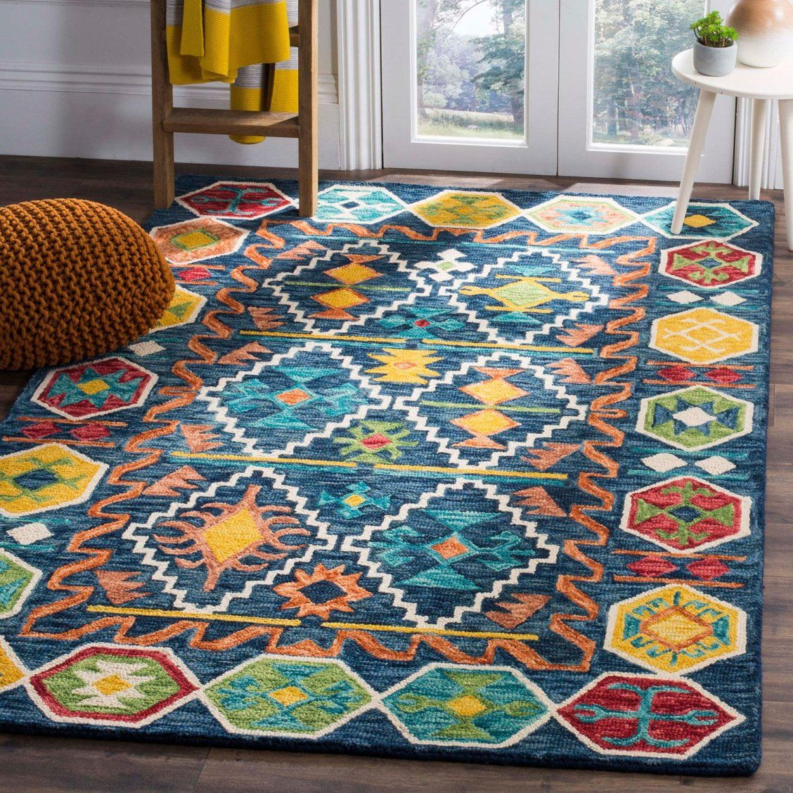 Add A Splash Of Personality To Any Room In Your Home With This Colorful Area Rug From The Aspen Collection By Safavieh Southwestern Area Rugs Wool Rug Gold Rug