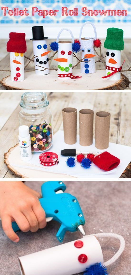 How-to Craft a Toilet Paper Roll Snowman Toilet roll, DIY
