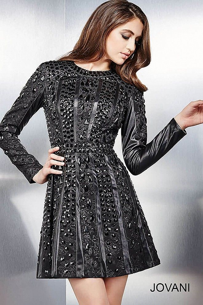 Spice up your wardrobe with this long sleeve fit and flare jewel encrusted dress #JOVANI #28015