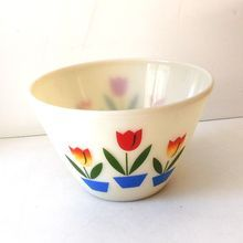 1950s Milk Glass Fire King Tulips Pattern Mixing Bowl