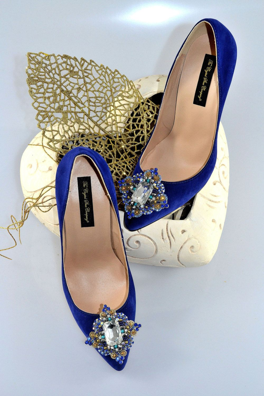 Swarovski crystal my something blue cobalt navy velvet suede bridal