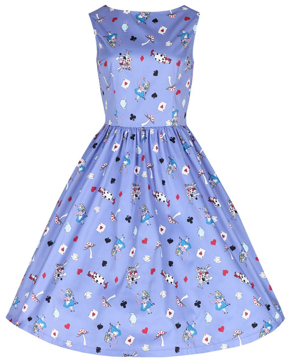 Audrey\' Lilac Alice In Wonderland Print Swing Dress