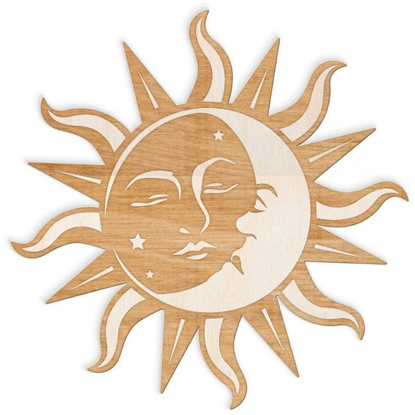 Sun And Moon Face Engraved Wood Sign Spiritual Wall Art