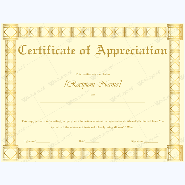 Certificate of appreciation 20 certificate appreciation and teacher certificate of appreciation 20 word layouts yadclub Image collections