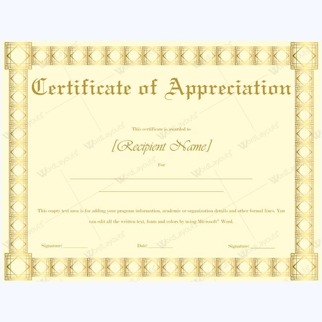 appreciation certificate printable