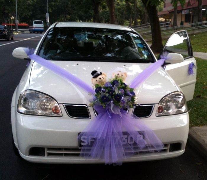 Flower Wedding Car Decorations : Car decorations purple artificial flowers wedding bear