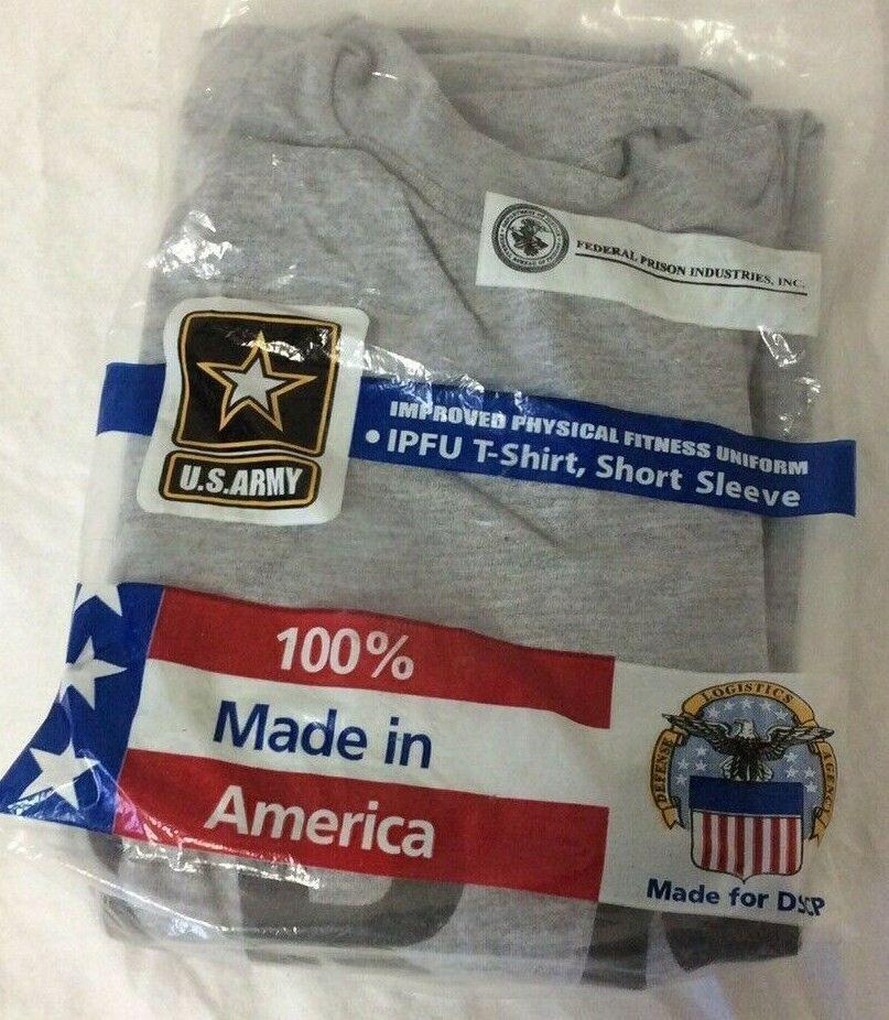 USGI US ARMY PHYSICAL FITNESS UNIFORM GRAY IPFU SHORT SLEEVE SHIRT SIZE SMALL