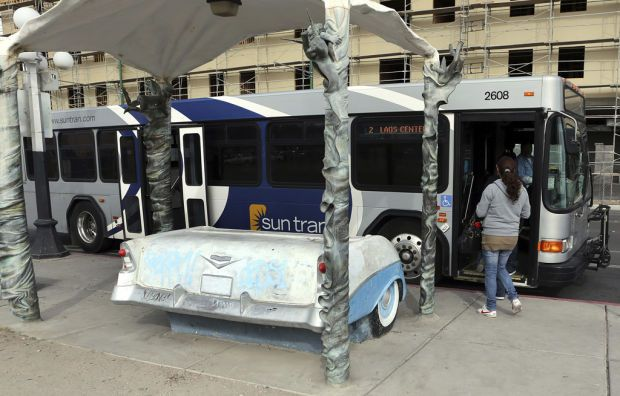 Tucson Oddity: Classic '56 Chevy bus bench adds pizazz to Sun Tran