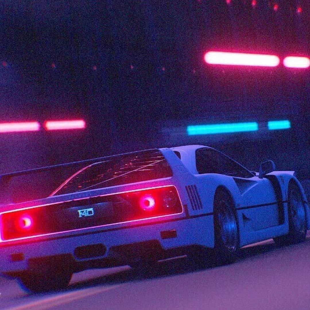 Old Ferrari 3d Art Premiere Pink Neon Colors 80s Cars Fast Sport