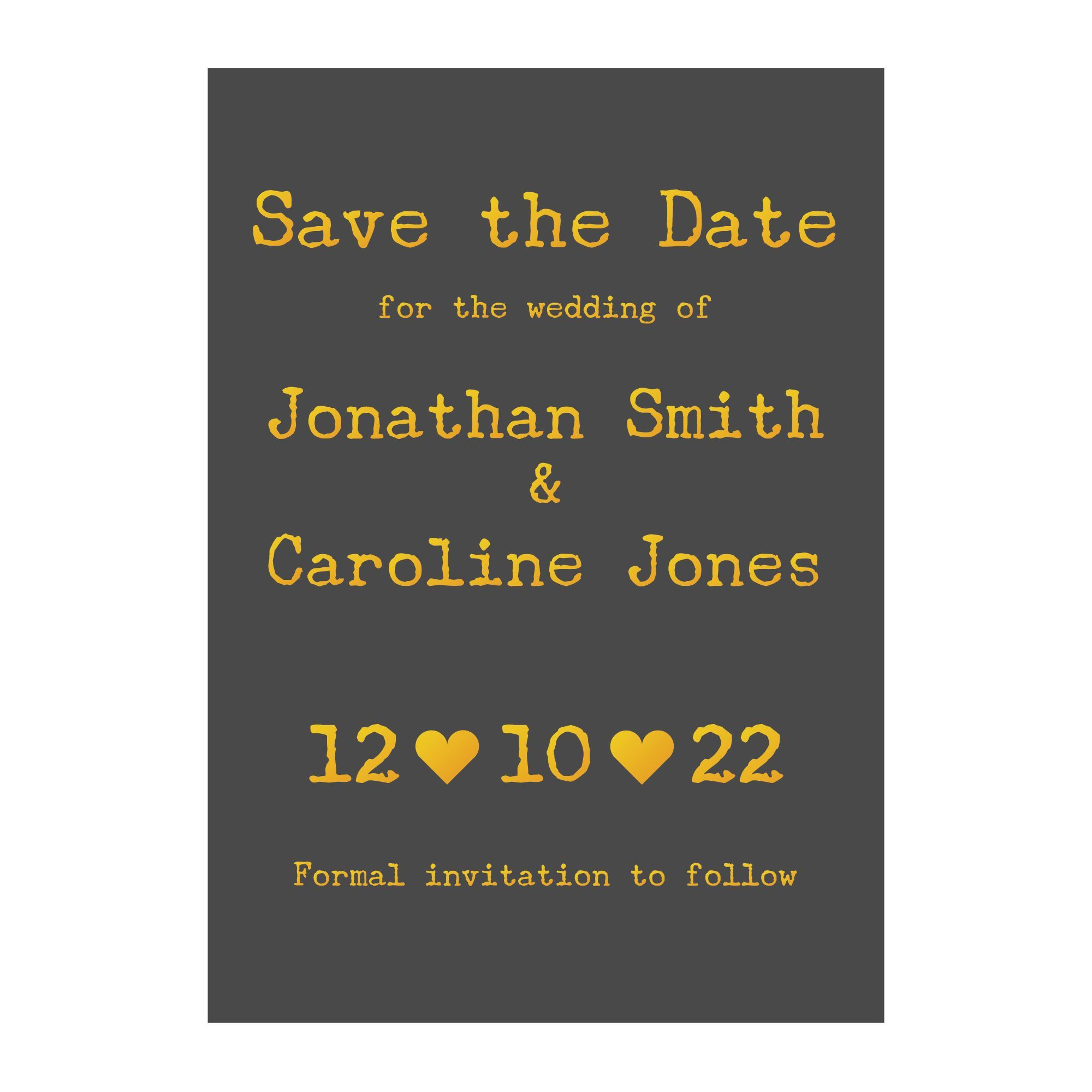 Photo of Grey with Gold Foil Rustic Typewriter Wedding Save the Date Cards