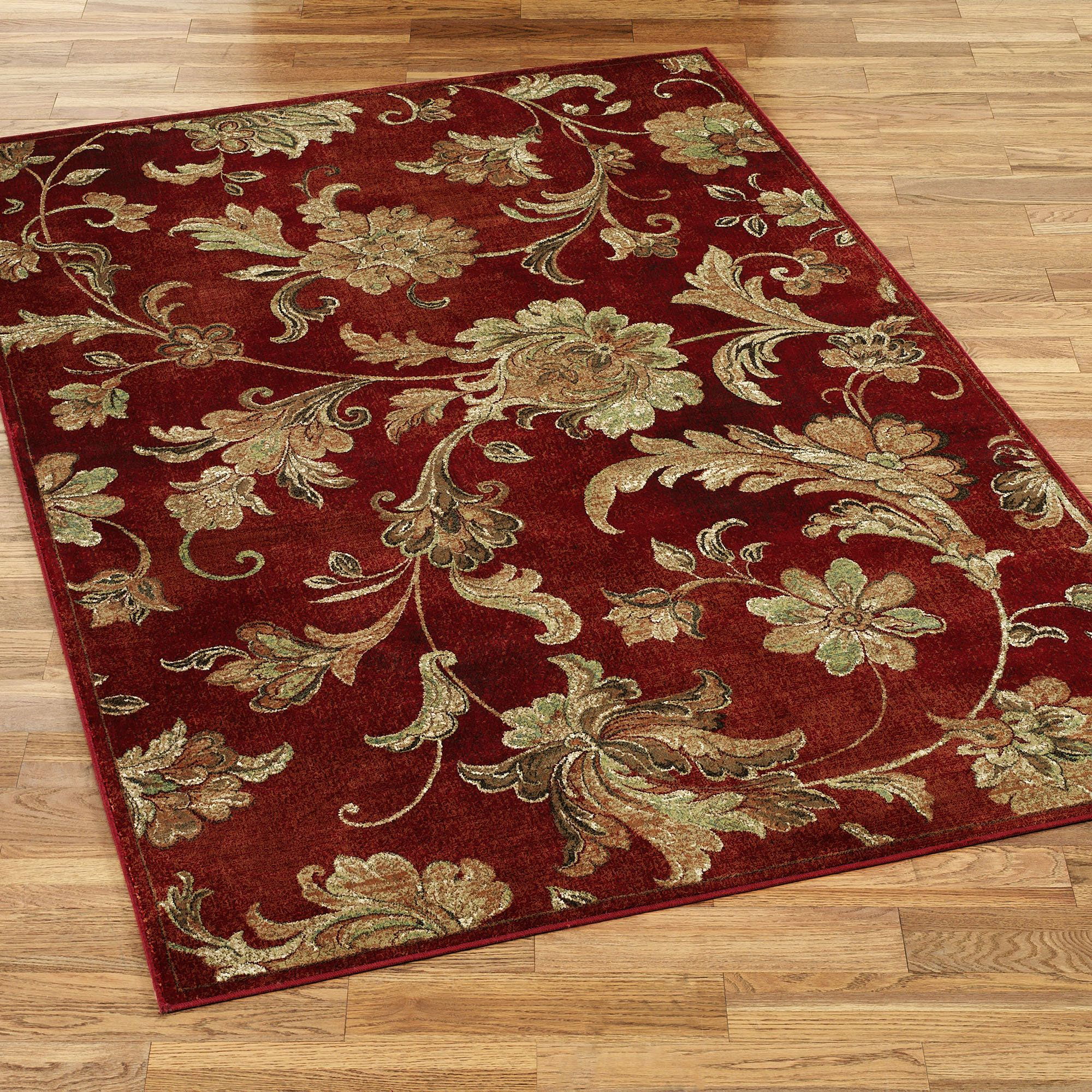 Aegean Floral Scroll Burgundy Area Rugs Area Rugs Cheap Carpet Fabric Area Rugs