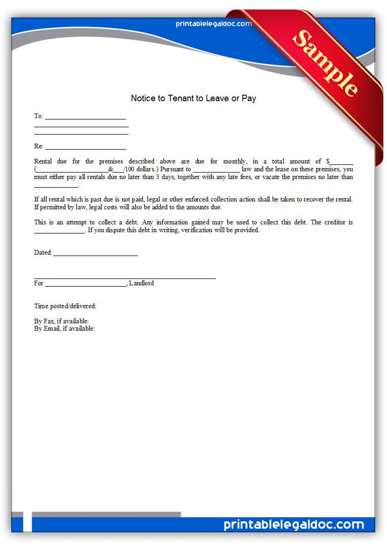 printable notice to tenant to leave or pay template printable get notice to tenant to leave or pay forms printable premium design and ready to print online