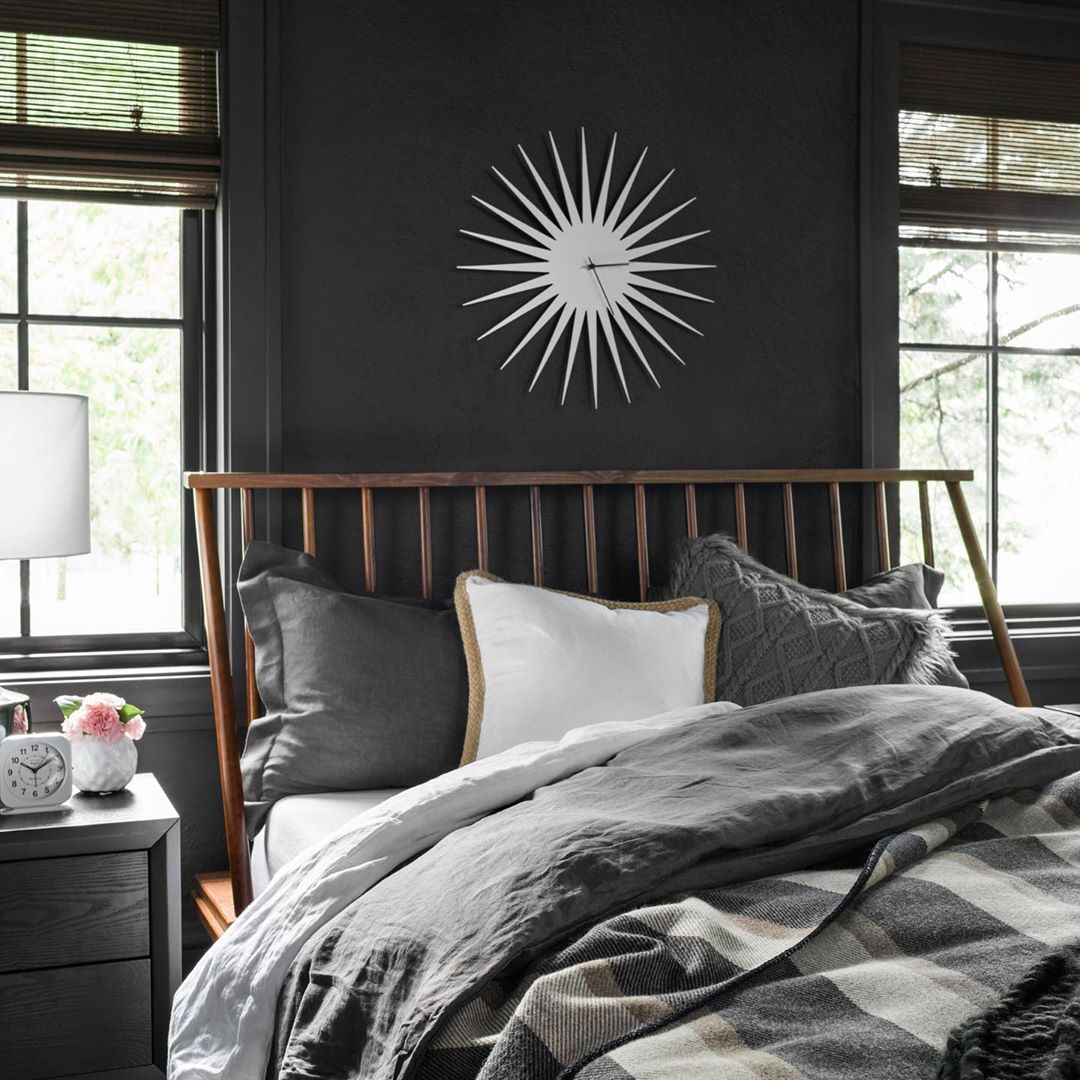 "HGTV HOME on Instagram: ""The HGTV Urban Oasis Giveaway 2019 features this Scandinavian style guest bedroom featuring HGTV HOME by Sherwin-Williams Bohemian Black…"""