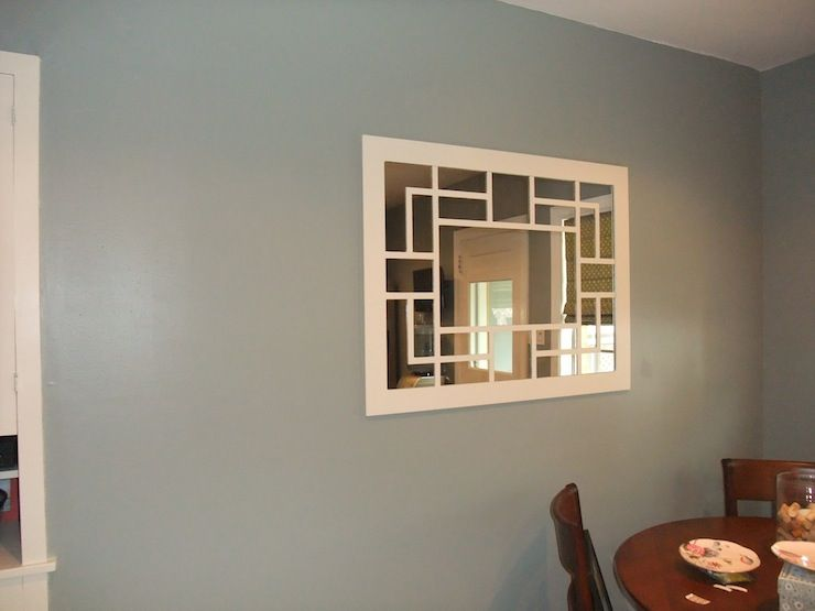 Behr Sage Gray Carrye Mirror Above Dining Nook In Kitchen