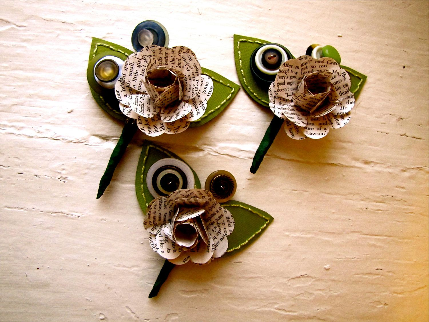 Paper Flower Boutonniere Wedding Event Green Book Page