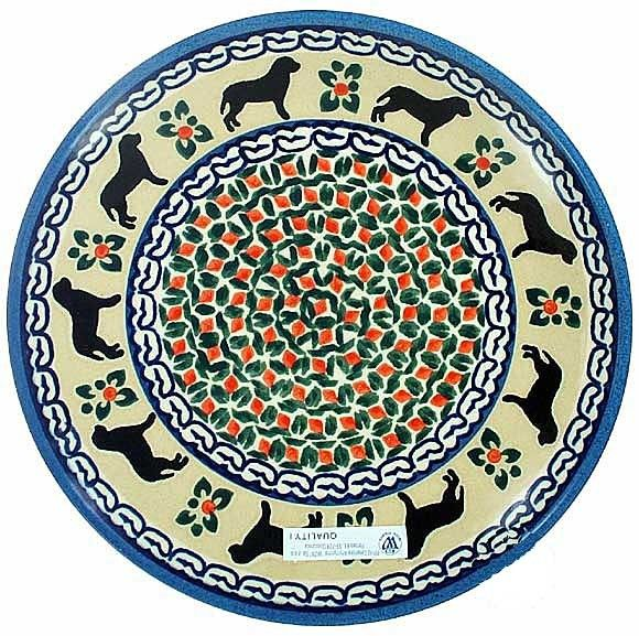Unikat Polish Pottery Cheese Plate Trivet Dog Pattern Dogs In The Simple Polish Pottery Patterns