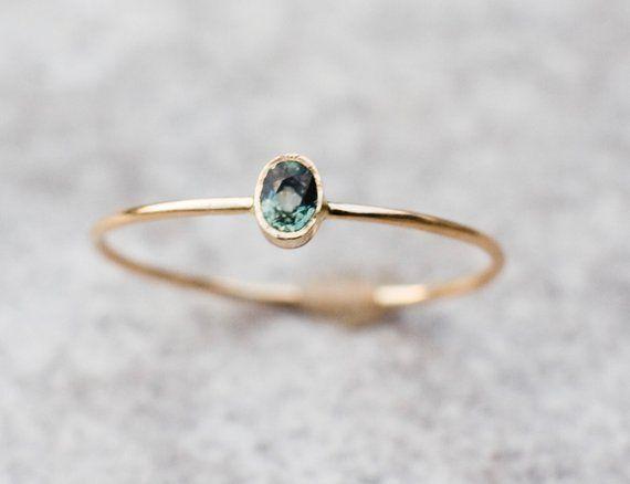 Photo of Green Sapphire Ring, 14k Gold Ring, Sapphire Engagement Ring, Wedding Ring, September Birthstone, Gemstone Ring, Birthstone Ring