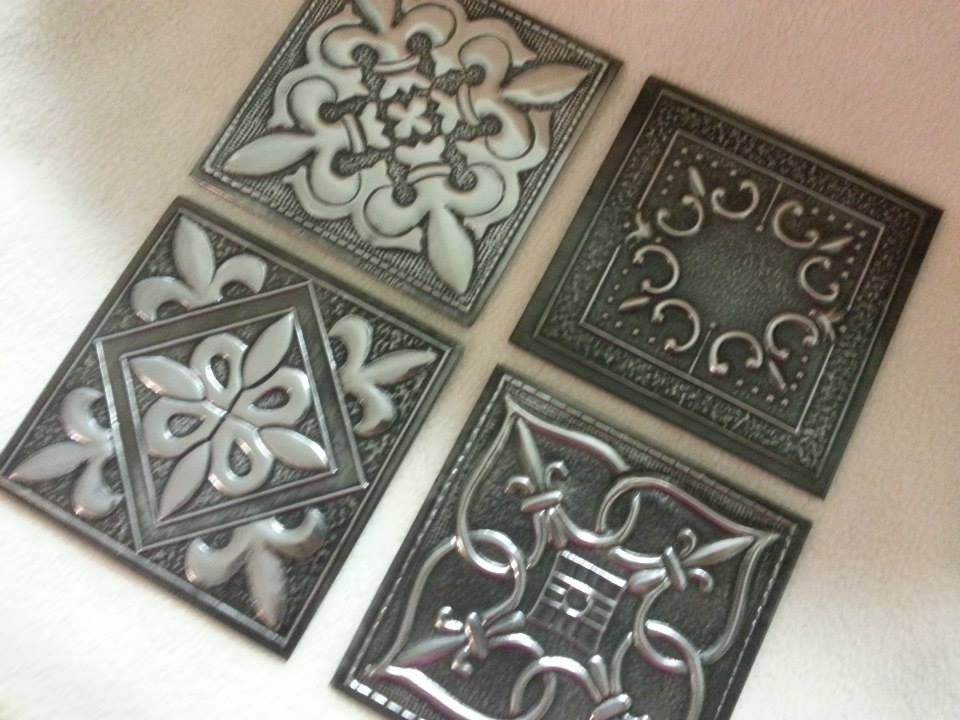 Pewter Embossed Tiles With Various Designs