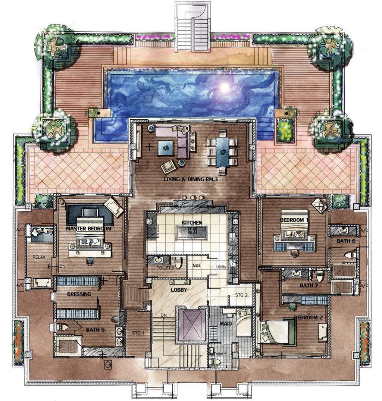Chom Tawan Penthouse Floorplan Home Design Floor Plans Penthouse Apartment Floor Plan Penthouse