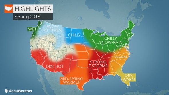 2018 US Spring Forecast Cold, snow to linger in Northeast