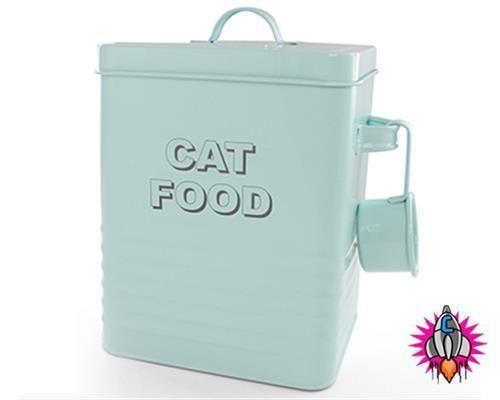 Vintage retro style aqua blue enamel large cat food storage