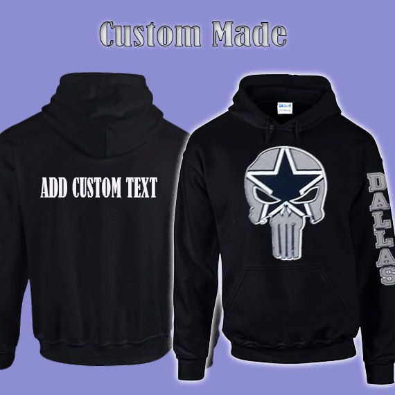 separation shoes d01f8 b7829 Dallas Cowboys Punisher Skull Hoodie Add Personalized Text ...