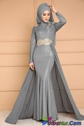 Photo of Narrow Skirt Hijab Evening Dress Model- Dar Etek Tesettür Ab…