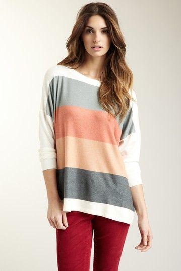Multi-Rays Colorblock Oversized Dolman Sweater on HauteLook
