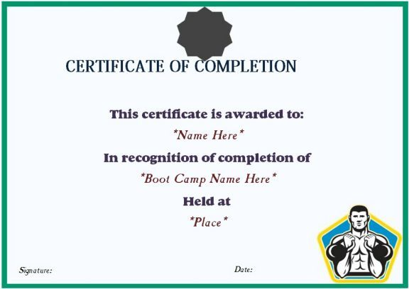 Boot Camp Completion Certificate Boot Camp Certificate Template