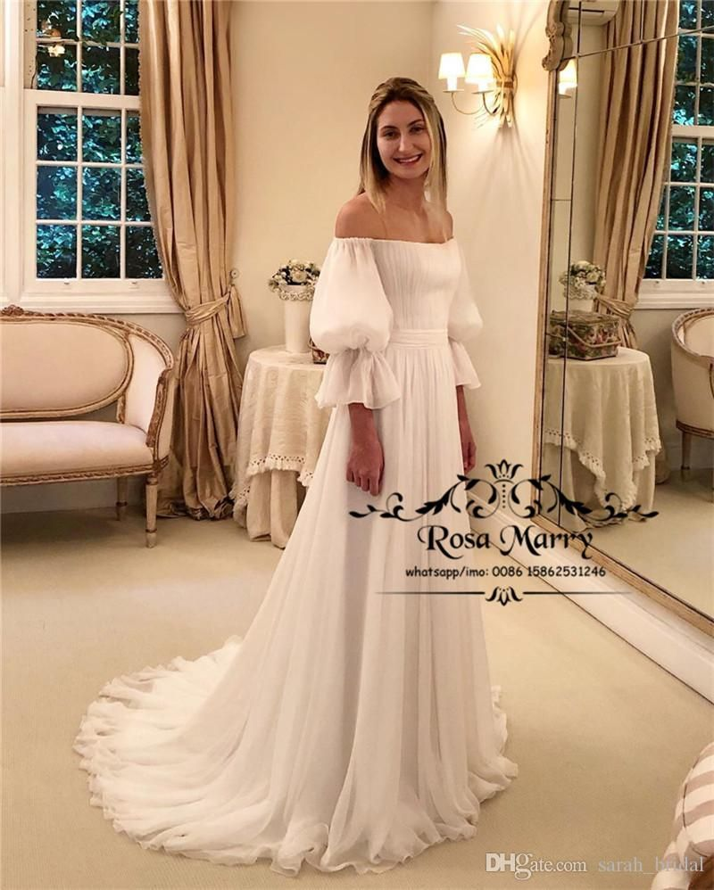 Discountplus Size Beach Boho Wedding Dresses 2019 A Line Off Shoulder Long Sleeves Long Chiffon White Simple Boho Hippie Country Bridal Gowns From Sarah Bridal Puff Sleeve Wedding Dress Wedding Dresses Unique [ 998 x 800 Pixel ]