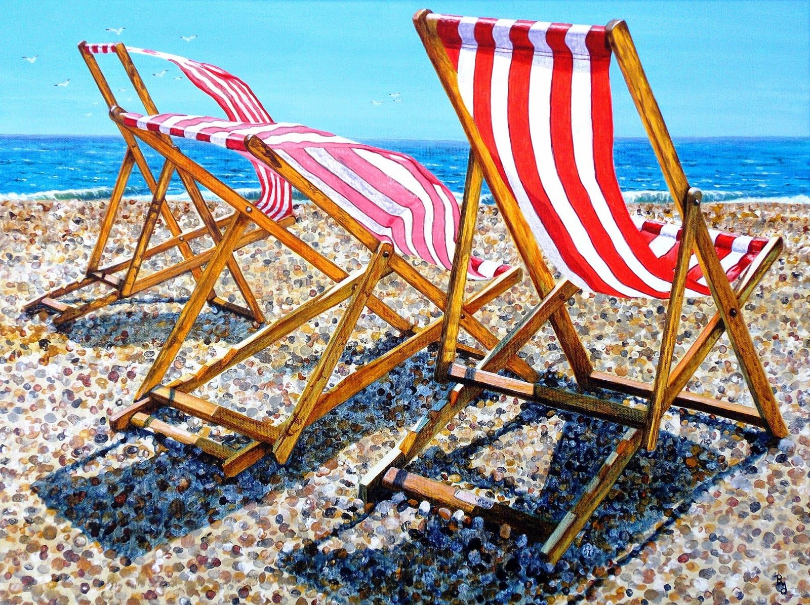 """Summer Sea Breeze"" (Seaford)  Acrylic on canvas ORIGINAL ART by Paula Oakley"