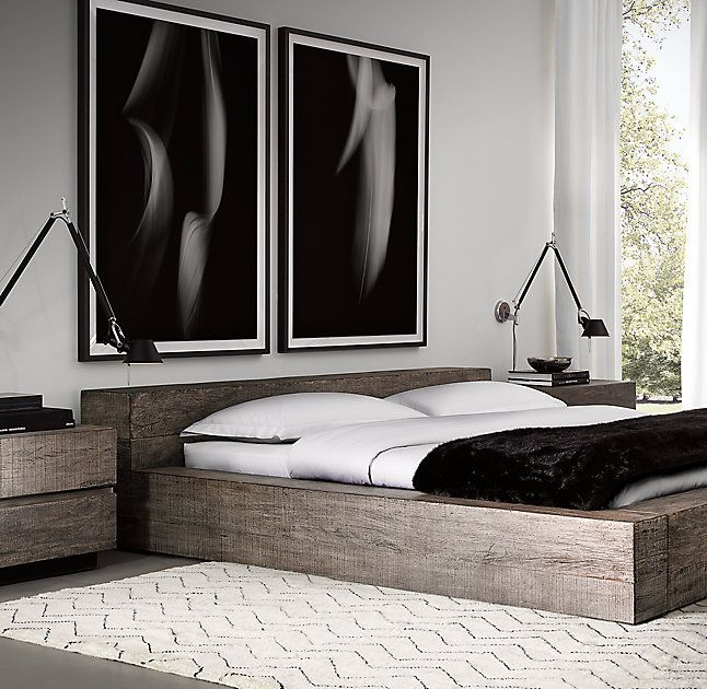 Rh 39 S Monterey Platform Bed Our Collection From Designer Thomas Bina Features Reclaimed Peroba Rosa Modern Bedroom Design Home Room Design Bedroom Interior