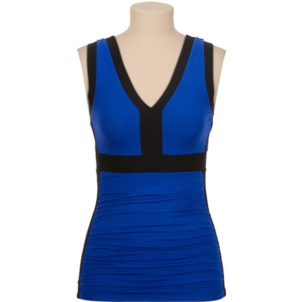 Ruched side v-neck colorblock tank (36 AUD) ❤ liked on Polyvore featuring tops, v-neck tank, v-neck tank top, blue tank, side ruched tops and color block top