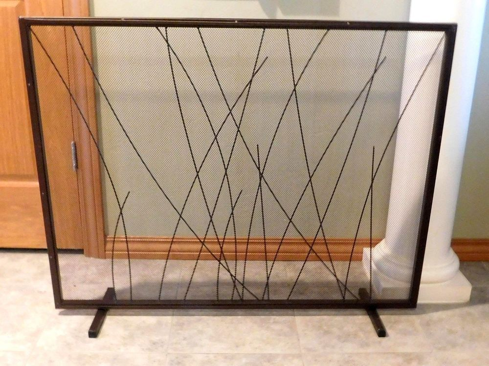 Single Panel Fireplace Screen Dark Brown Oil Rubbed Bronze With Mesh