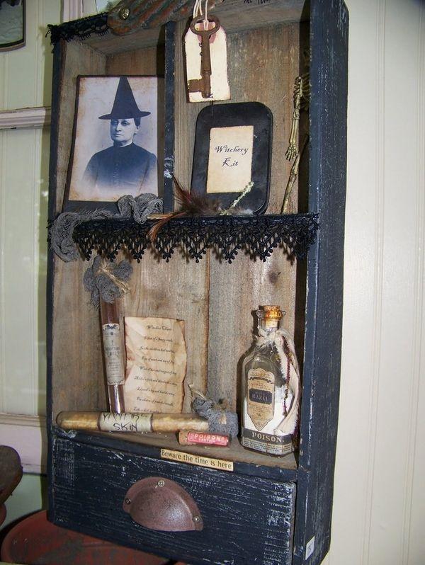 vintage halloween decoration ideas witch picture black lace old - vintage halloween decorating ideas