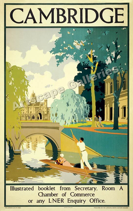 Punting on the River Cam, Cambridge. Travel by Train.