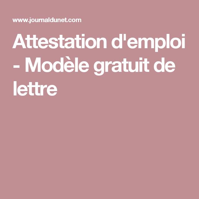 Attestation d'emploi - Modèle gratuit de lettre