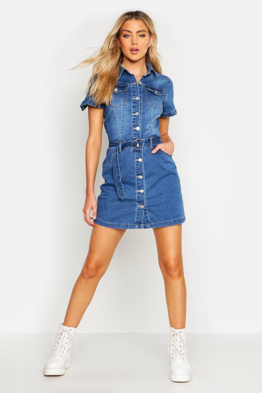 Womens Denim Belted Short Sleeve Dress Blue L Denim Dress Outfit Denim Women Short Sleeve Dress Blue [ 1500 x 1000 Pixel ]