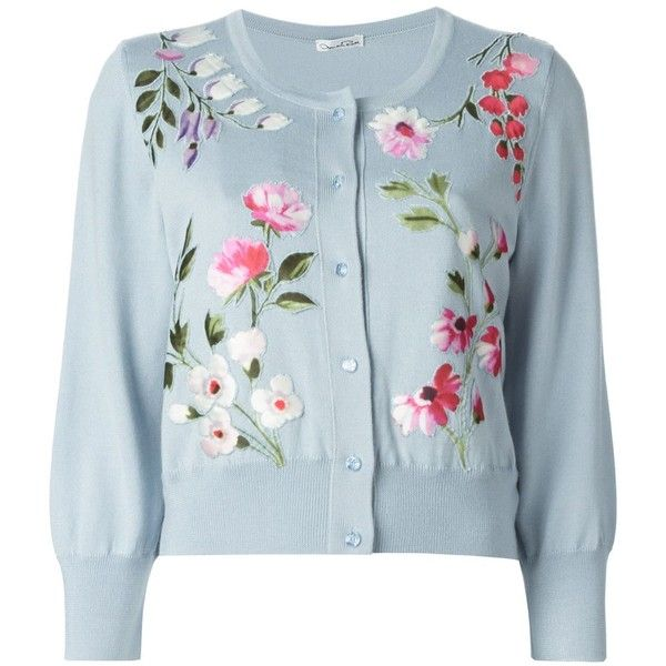 Oscar de la Renta floral embroidered cardigan (9.125 BRL) ❤ liked on Polyvore featuring tops, cardigans, outerwear, sweaters, jackets, blue, blue top, oscar de la renta, blue cardigan and ribbed top